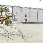 Skizze - Grillhütte kann über Rolltore geöffnet werden