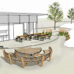 Skizze - Sitzmöglichkeit/ Bestuhlung Außenbereich Grillhütte inkl. Außengrill